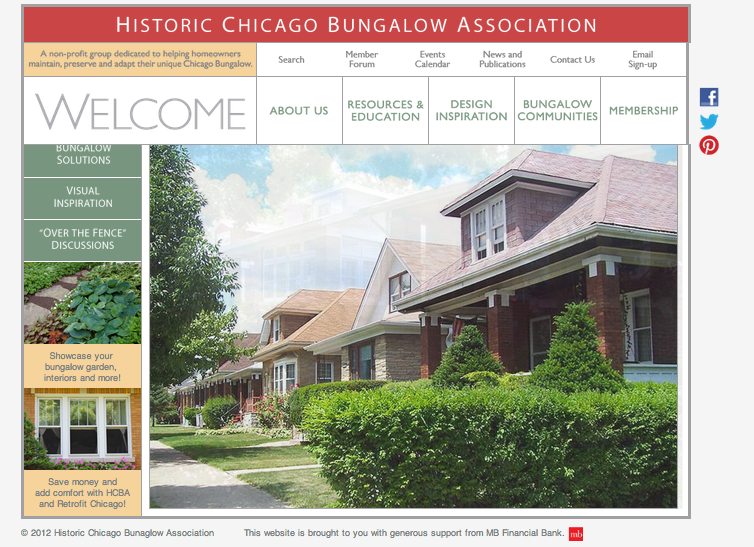 CHICAGO HISTORIC BUNGALOW ASSOCIATION WEBSITE