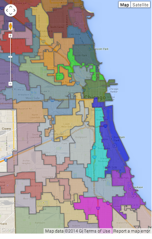 Chicago Map of 50 Wards - Effective 2015